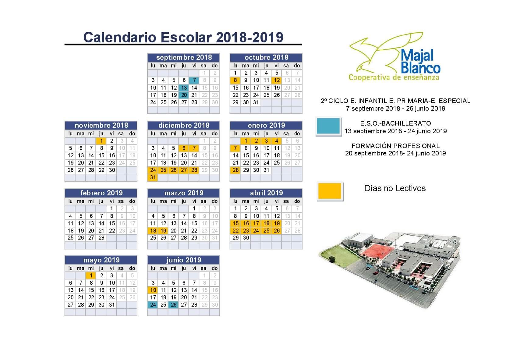 Calendario Escolar Murcia 2019.Calendario 2018 001 Centro Concertado Majal Blanco