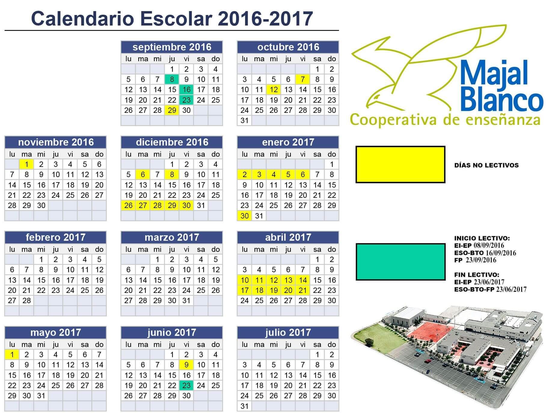 Calendario Escolar 2016-2017 - Centro Concertado Majal Blanco